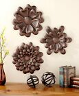 The Lakeside Collection Set of 3 Metal Wall Flowers -