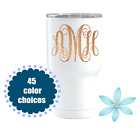 Glitter Monogram Tumbler Decal, Initials Cup Decal, Monogrammed Name Decal
