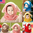 Cute Winter Baby Kids Girls Boys Warm Woolen Coif Hood Scarf Caps Hats US Stock