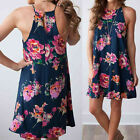 New Women Sexy Floral Straps Loose Mini Dress Camisole Sleeveless Beach Sundress