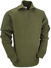US Marine Army Style Olive Long Sleeve Winter Outdoor Fleece Polo Shirt Jumper