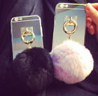 US Luxury Lady Mirror soft TPU Back Case + Ring fur Ball for iPhone 7 plus BA