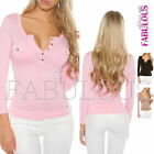 New Sexy Women's Tops Long Sleeve Blouses Hot Casual Everyday Wear Size 8 10 S M