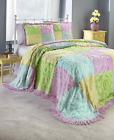 Chenille Design Patchwork Bedspreads Shams Bed Bedroom Spread Queen King Squares image