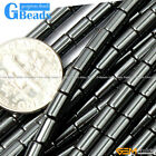 Black Hematite Gemstone Column Tube Beads For Jewelry Making Free Shipping 15""