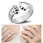 Adjustable Paws Ring In Sterling Silver Plate Thumb Wrap Dog Cat Pet Animal Paw