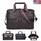 Mens Vintage Leather Briefcase Handbag Shoulder Messenger Laptop Satchel Bag