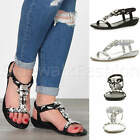 Womens ladies low wedge heel t-bar braided diamante gem slip on sandals size