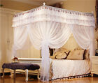 White 4 Corner Post Bed Curtain Canopy Mosquito Netting Twin Queen King Size
