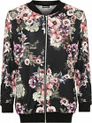 Womens Plus Floral Bomber Jacket Ladies Print Long Sleeve Zip Elasticated 14-28