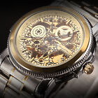 KS Black Royal Carving Steampunk Skeleton Automatic Mechanical Men's Wrist Watch