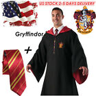 US STOCK Harry Potter Cape Adult Youth Gryffindor Robe Cloak Tie Cosplay Costume