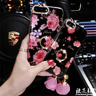 Bling Diamonds Beautiful Flowers Bowknot Strap Ring Case For iPhone 7 Plus 6 6s