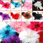 Crochet Kid Baby Girl Feather Flower Headband Headwrap Headbands Headwear WS