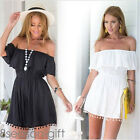 2017 Summer New Women Off Shoulder Playsuit Elastic Waist Ruffles Dress Jumpsuit
