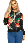Womens Floral Rose Leaf Bomber Jacket Ladies Long Sleeve Zip Print Zip Crew Neck