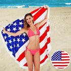 South Beach American Liberty Flag Print Beach Towel Round Fringed Festival Scarf