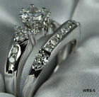 925 Sterling Silver Vintage Round CZ Engagement Ring Wedding Ring set SZ5-9 ~WR5