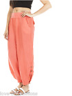 Womens Italian Two Button Ankle Back Pocket Oversized Linen Trousers Size 10 16