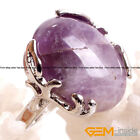 Natural Oval Gemstone Silver Plated Finger Ring For Women Fashion Jewelry 18x20m