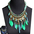 Yoocart Statement Necklace Women's Leaf Rope Chain Feather Chunky Bib Pendant