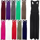 Ladies Women Toga Racer Back Jersey Bubble Puff Balloon Plain Maxi Dress 8-26
