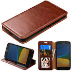 for motorola Moto G5 /Moto G5 PLUS BROWN WALLET LEATHER COVER CASE +GLASS SCREEN