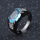 Fashion Aquamarine Black 18K Gold Filled Mans Anniversary Ring Size 8,9,10,12
