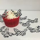 Zebra Print Butterflies 24 x cupcake / cake toppers wafer paper or icing