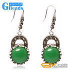 Fashion 16mm Coin Stones Tibetan Silver Dangle Earrings For Women Free Shipping