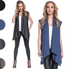 Glamour Empire Women's Waterfall Gilet Coat Lightweight Sleeveless Cardigan. 398