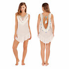 South Beach Womens Designer Crochet Low Back Tassel Dress Kaftan Beach Cover Up