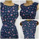 NEW TEA DRESS RETRO VTG DITSY FLORAL NAVY PINK RED WHITE VISCOSE PLUS 10 - 24