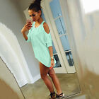 US Summer Boho Women Cold Shoulder Blouse Casual Loose Baggy T shirt Long Tops