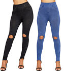 Womens Slash Knee Leggings Ladies Denim Ripped Elasticated Skinny Leg New 8-14