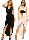 Womens Ruched Slinky Maxi Dress Ladies Ruched Corset Tie Belt Sleeveless 8-14