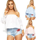 Womens Bardot Boho Crop Top Ladies Off Shoulder Short Sleeves Stretch Plain 8-14