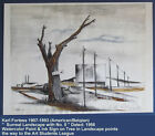 """1956 KARL FORTESS Listed Art Students League New York WPA  """" Surreal Landscape """""""