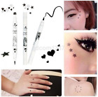 Beautiful Sides Black Liquid Star Heart Tattoo Stamp Eyeliner Pencil Makeup US