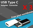 3x USB Type C Male Connector to Micro USB Female Converter USB-C Adapter