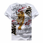 2017 New Mens T-Shirt Embroidery Japanese Totem Dragon Tiger Black High Quality!