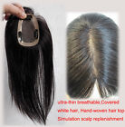 "Women 12"" Closures Human Hair Top Toupees Replacement Hair extensions Hairpiece"