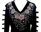 X-LARGE Hand Embellished Rhinestone Mother's Day Pink Floral Tunic Ladder Top