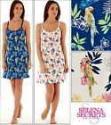 Womens Thin Straps Nightdress Jersey 100% Cotton Parrot Print Chemise Nighties
