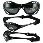 Birdz Seahawk Floating Polarized Sunglasses Built in Strap Black & Smoke Lens