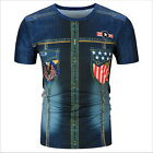 New Style Mens 3D Print Summer Short Sleeve Cowboy Casual Round Tops T-Shirt JR