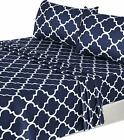 Sheets Pillowcases - Bed Sheet Set 4 Pieces Grey Blue 1 Flat Sheet 1 Fitted Sheet 2 Pillow Cases