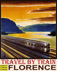 POSTER TRAVEL BY TRAIN SAFETY COMFORT ECONOMY FLORENCE VINTAGE REPRO FREE S H