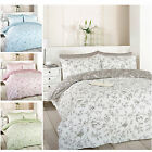 French Toile Duvet Quilt Cover - Reversible Floral Bird Bed Set + Pillow Case