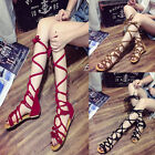 US Hot LADIES WOMENS SUMMER KNEE HIGH GLADIATOR SANDALS FLAT LACE UP STRAPPY